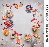healthy breakfast round frame.... | Shutterstock . vector #397058581
