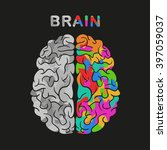 left and right brain hemisphere.... | Shutterstock .eps vector #397059037