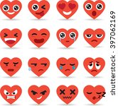 set icon of hearts emoticons... | Shutterstock .eps vector #397062169