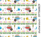 vector garden pattern with... | Shutterstock .eps vector #397068829