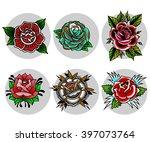 traditional tattoo flowers set | Shutterstock .eps vector #397073764