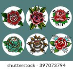 traditional tattoo flowers set | Shutterstock .eps vector #397073794