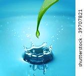 water drop falling from leaf... | Shutterstock . vector #39707821