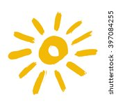 painted sun icon. yellow colour.... | Shutterstock .eps vector #397084255
