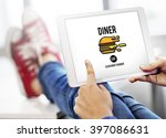 diner eating restaurant cafe... | Shutterstock . vector #397086631