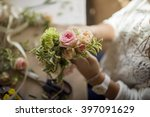process of mastering flower... | Shutterstock . vector #397091629