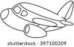 outlined plane. vector...