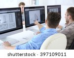 stylish engineers office | Shutterstock . vector #397109011