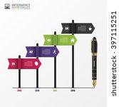 timeline infographics. flags.... | Shutterstock .eps vector #397115251
