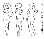 naked woman silhouette or nude... | Shutterstock .eps vector #397118179