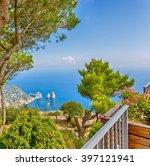 beautiful view of faraglioni... | Shutterstock . vector #397121941