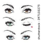 hand drawn women's eyes vintage....