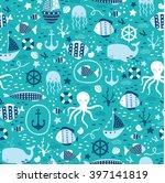 vector seamless underwater... | Shutterstock .eps vector #397141819