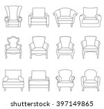 a set of outline chair isolated ... | Shutterstock .eps vector #397149865