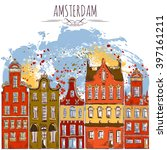 amsterdam. old historic... | Shutterstock .eps vector #397161211
