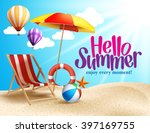 Summer Beach Vector Design in the Seashore with Beach Umbrella and Chair. Summer Background Vector Illustration for Beach Holidays  | Shutterstock vector #397169755