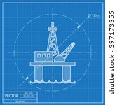 oil platform vector blueprint... | Shutterstock .eps vector #397173355
