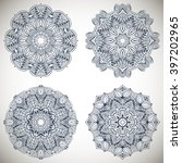 set of mandalas coloring... | Shutterstock .eps vector #397202965