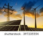 solar panels with wind turbines ... | Shutterstock . vector #397235554