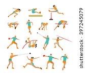 vector set of people in sport... | Shutterstock .eps vector #397245079