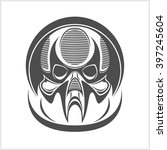 demon scary skull isolated on... | Shutterstock .eps vector #397245604