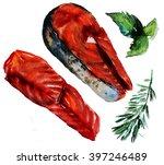 steak salmon fillet with  ...   Shutterstock . vector #397246489