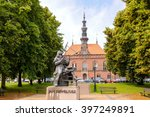 Small photo of GDANSK, POLAND - JULY 6, 2009: Sculpture of Jan Heweliusz observing with a quadrant and alidade, designed by Jan Szczypka located in the park across the Old Town Hall