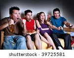 the emotional fans  watching tv | Shutterstock . vector #39725581