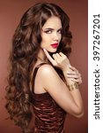 healthy hair. makeup. beautiful ... | Shutterstock . vector #397267201