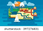 paradise island beach. colorful ... | Shutterstock .eps vector #397276831