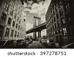 manhattan bridge seen from a... | Shutterstock . vector #397278751