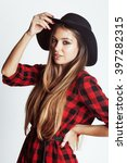 young pretty brunette girl... | Shutterstock . vector #397282315