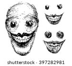 crazy scary face. grotesque... | Shutterstock .eps vector #397282981