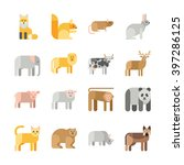 flat design vector animals icon ... | Shutterstock .eps vector #397286125