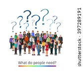 large group of people asking...   Shutterstock .eps vector #397289191