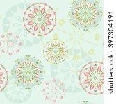 seamless pattern with mandala.... | Shutterstock .eps vector #397304191