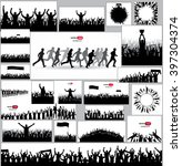 running vector silhouettes and... | Shutterstock .eps vector #397304374