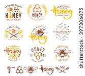 set of honey labels  badges ... | Shutterstock .eps vector #397306075