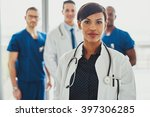 confident female doctor in... | Shutterstock . vector #397306285