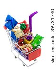Shopping cart full of different presents on a white background - stock photo