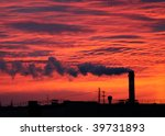 factory chimney at sunrise   Shutterstock . vector #39731893