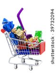 Shopping cart full of different christmas presents on a white background - stock photo