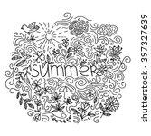 summer black hand drawn round... | Shutterstock .eps vector #397327639