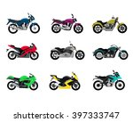set of motorcycle design flat...   Shutterstock . vector #397333747