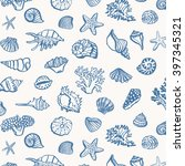 shell sea life vector pattern | Shutterstock .eps vector #397345321
