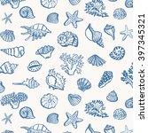 shell sea life vector pattern | Shutterstock .eps vector #397345321