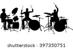 Set Of Drummer Silhouette