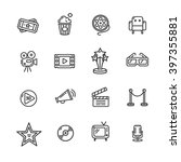 cinema outline icon set on a... | Shutterstock .eps vector #397355881