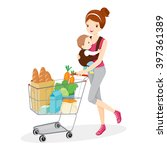 mother carries baby and pushing ... | Shutterstock .eps vector #397361389