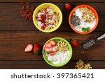 healthy breakfast of muesli ... | Shutterstock . vector #397365421